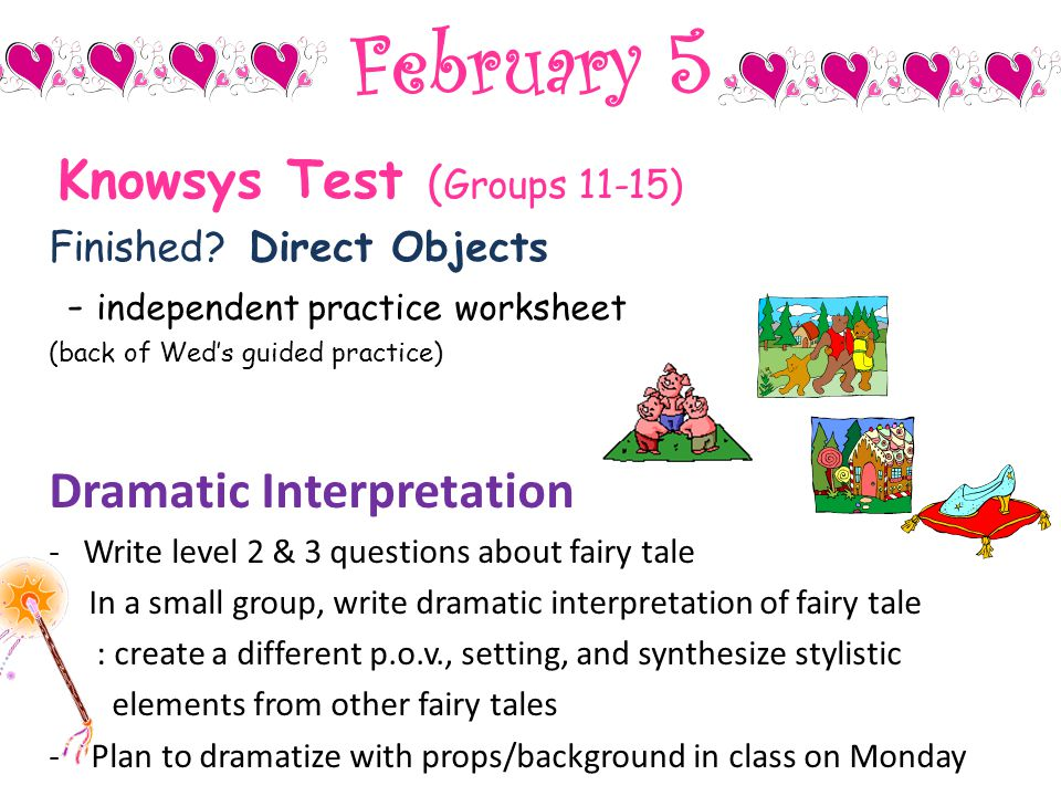February 5 Dramatic Interpretation Knowsys Test (Groups 11-15)