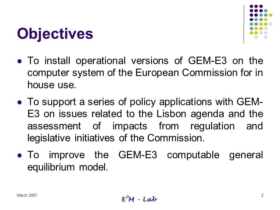 Objectives To install operational versions of GEM-E3 on the computer system of the European Commission for in house use.