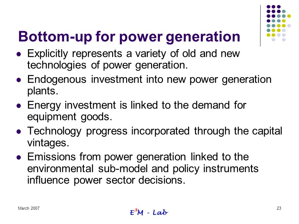 Bottom-up for power generation