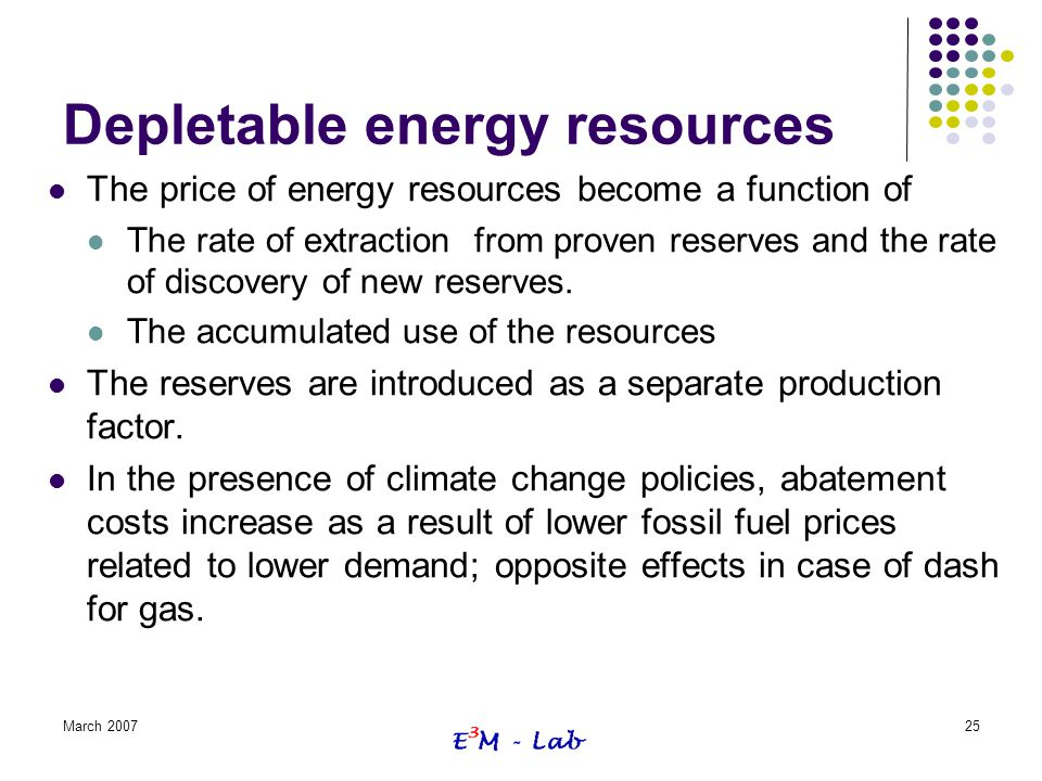 Depletable energy resources