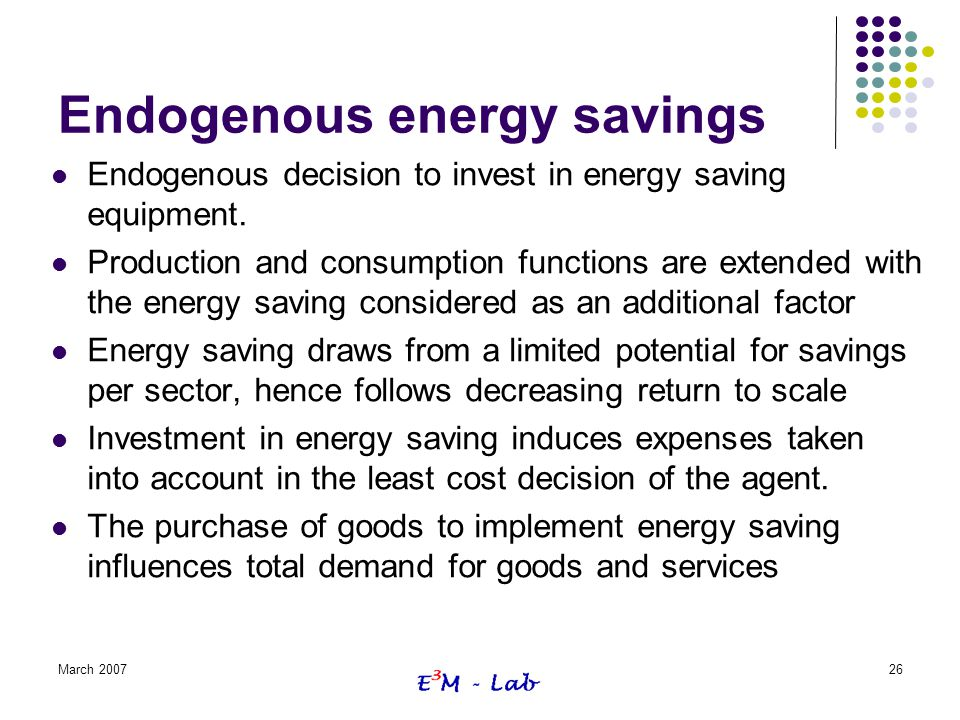Endogenous energy savings