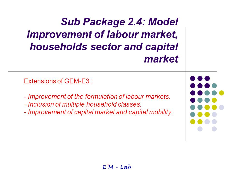 Sub Package 2.4: Model improvement of labour market, households sector and capital market