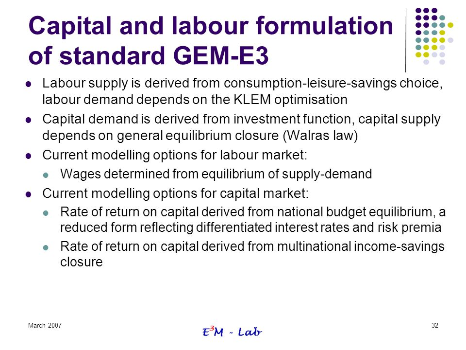 Capital and labour formulation of standard GEM-E3