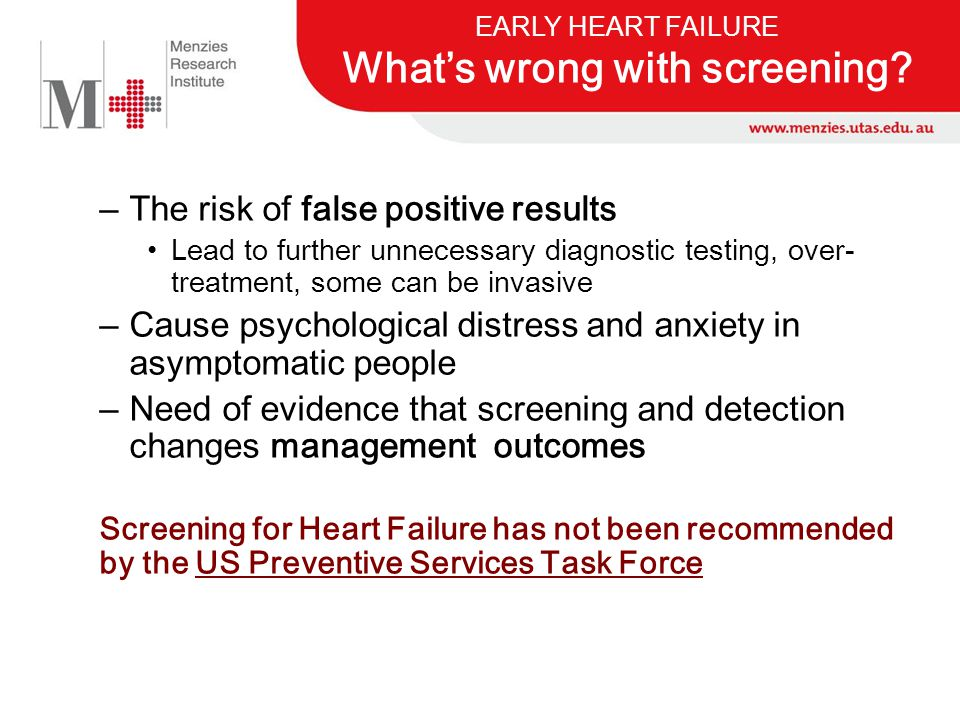 EARLY HEART FAILURE What's wrong with screening