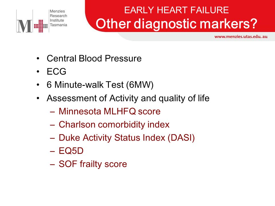 EARLY HEART FAILURE Other diagnostic markers