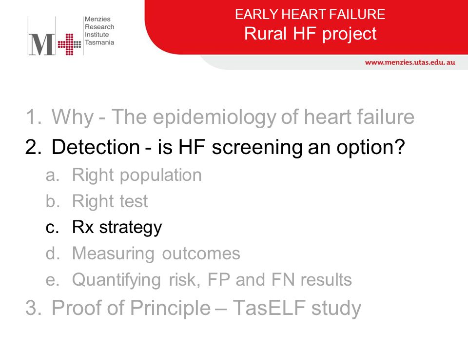 EARLY HEART FAILURE Rural HF project