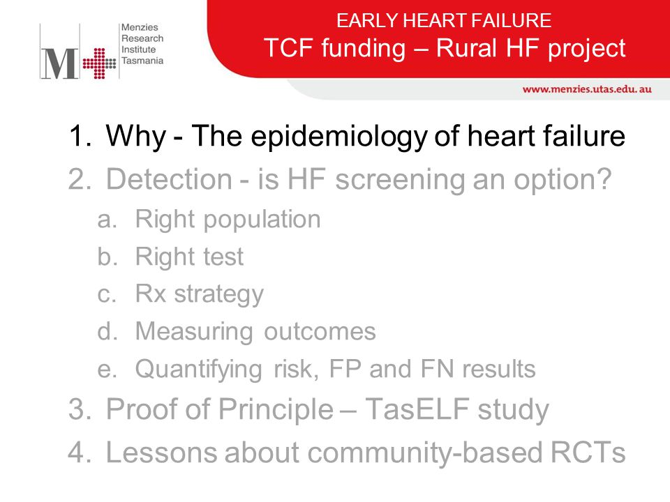 EARLY HEART FAILURE TCF funding – Rural HF project
