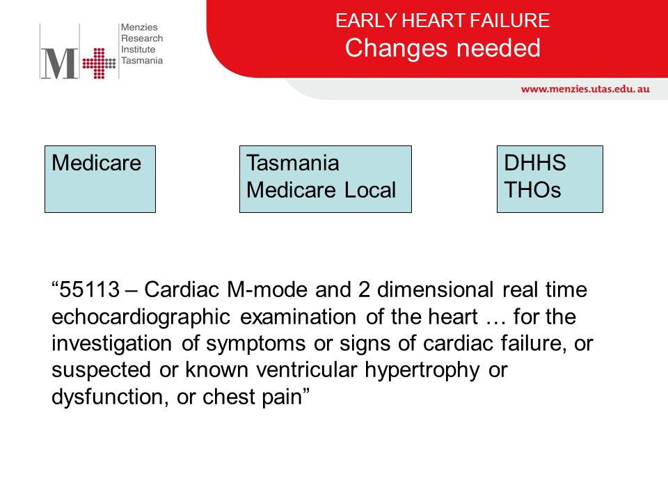 EARLY HEART FAILURE Changes needed