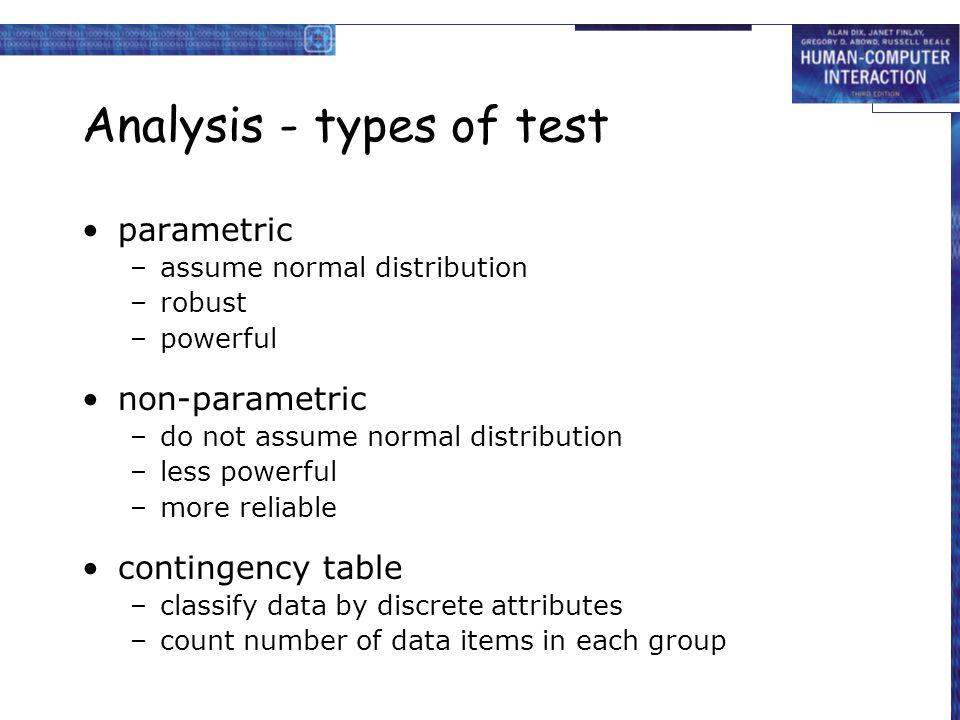 Analysis - types of test