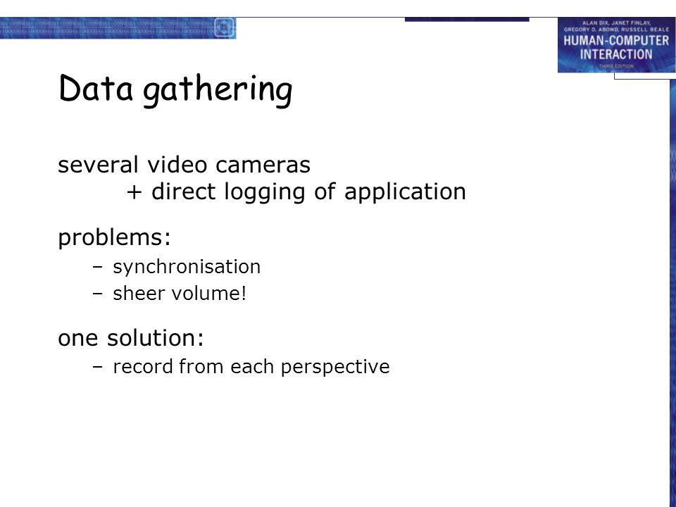 Data gathering several video cameras + direct logging of application