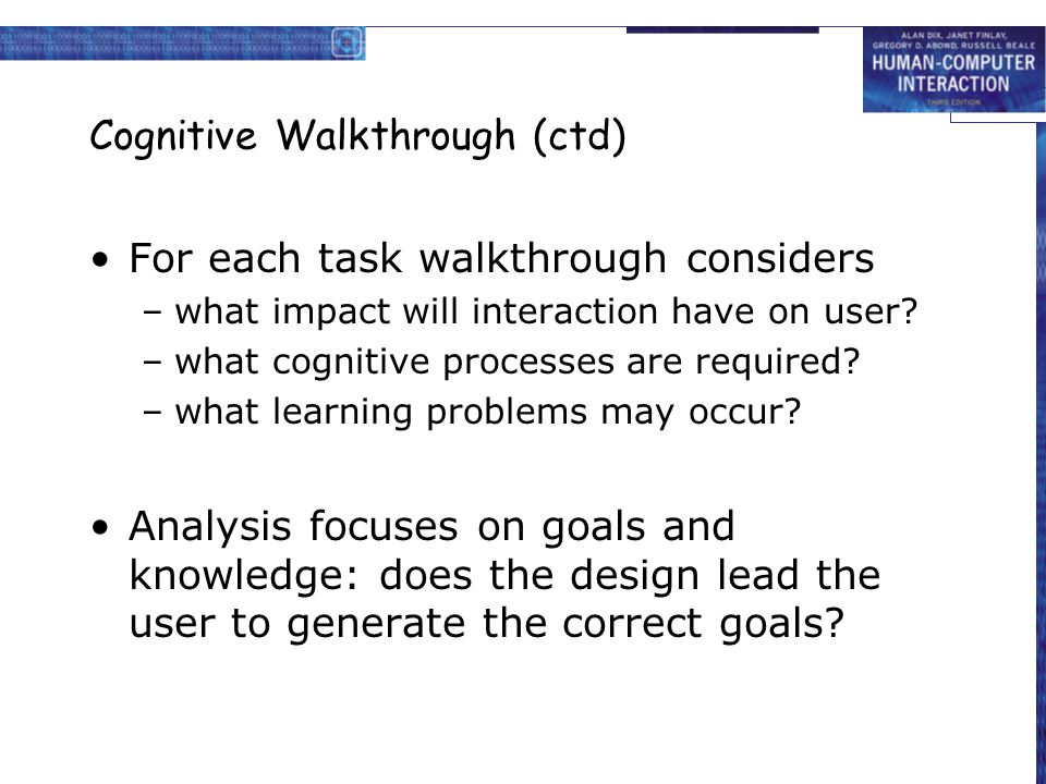 Cognitive Walkthrough (ctd)