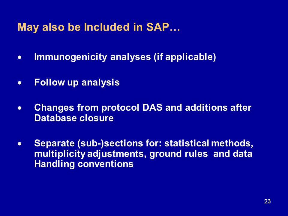 May also be Included in SAP…