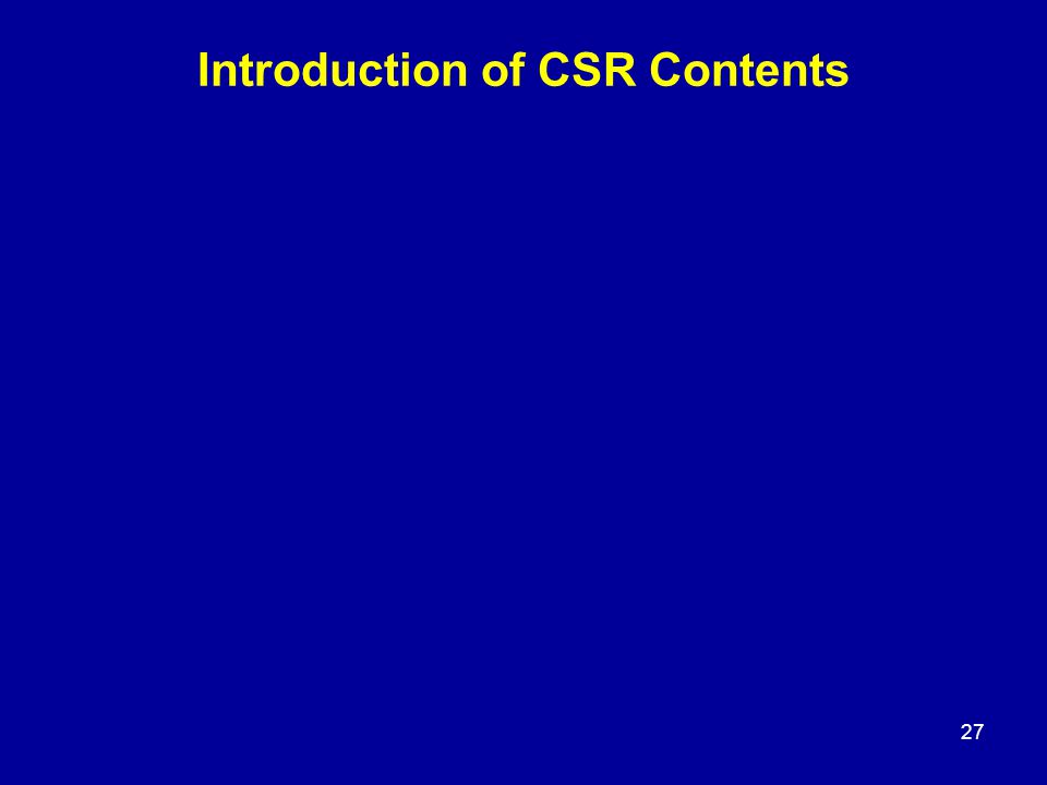 Introduction of CSR Contents