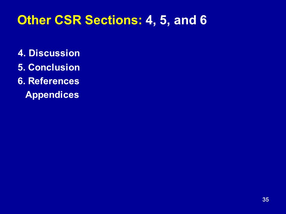 Other CSR Sections: 4, 5, and 6