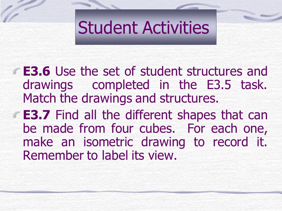 Student Activities E3.6 Use the set of student structures and drawings completed in the E3.5 task. Match the drawings and structures.
