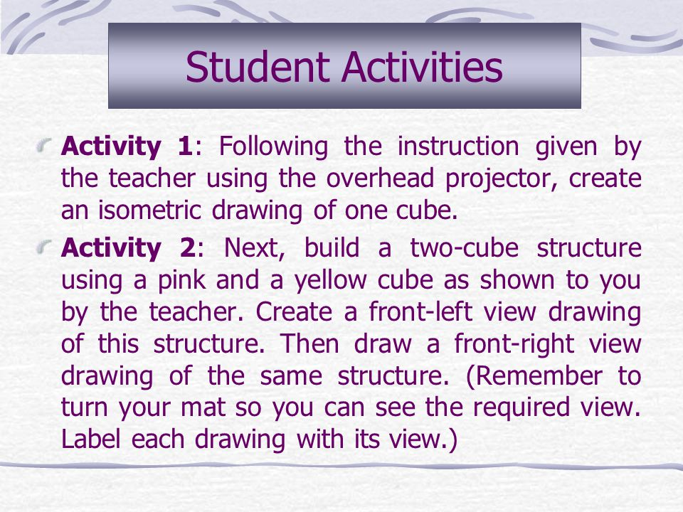 Student Activities Activity 1: Following the instruction given by the teacher using the overhead projector, create an isometric drawing of one cube.