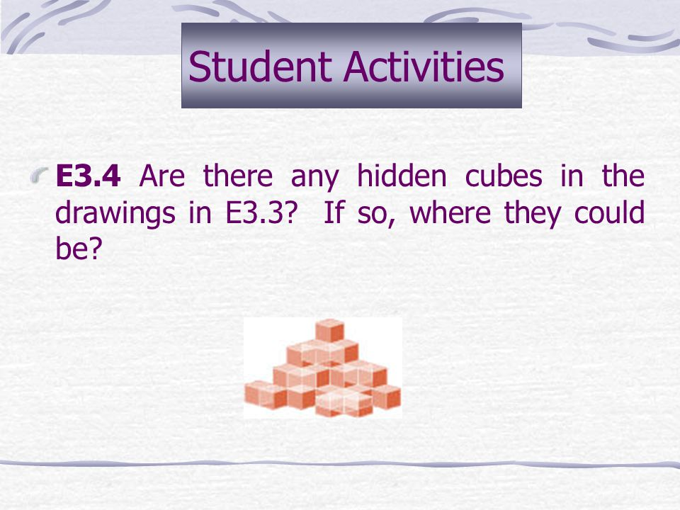 Student Activities E3.4 Are there any hidden cubes in the drawings in E3.3.