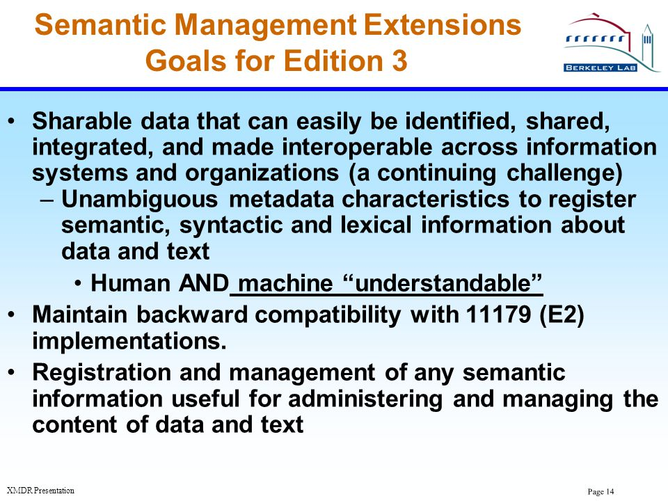 Semantic Management Extensions Goals for Edition 3