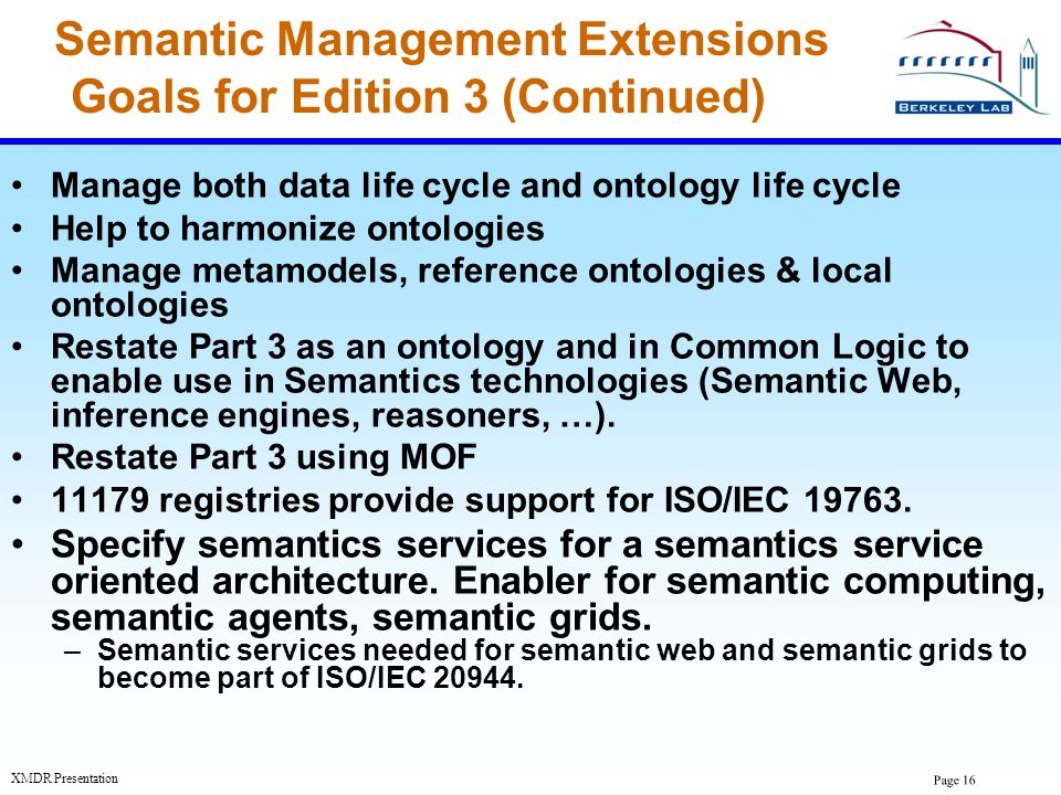 Semantic Management Extensions Goals for Edition 3 (Continued)