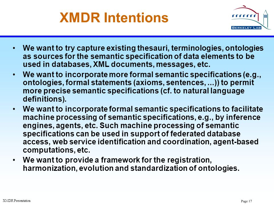 XMDR Intentions