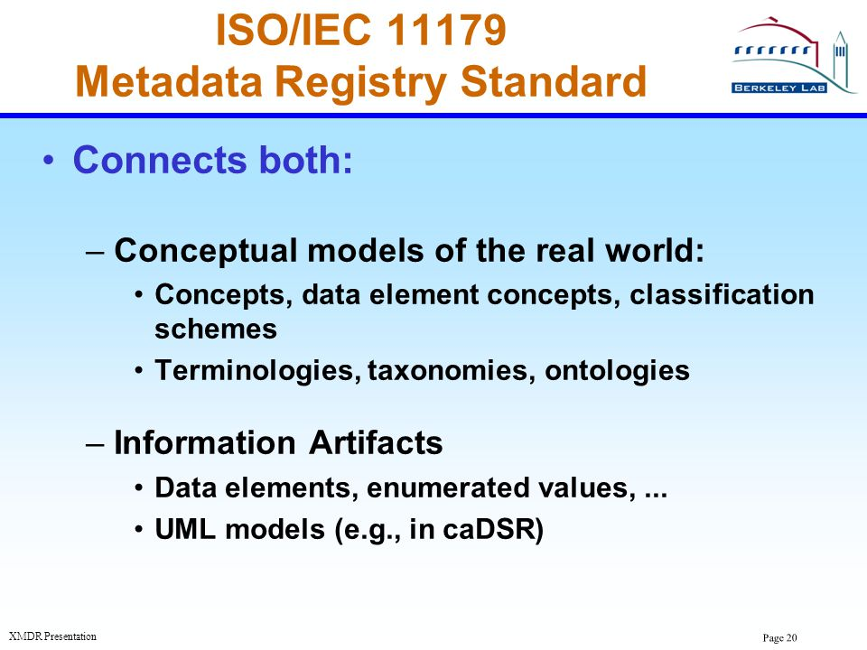 ISO/IEC 11179 Metadata Registry Standard