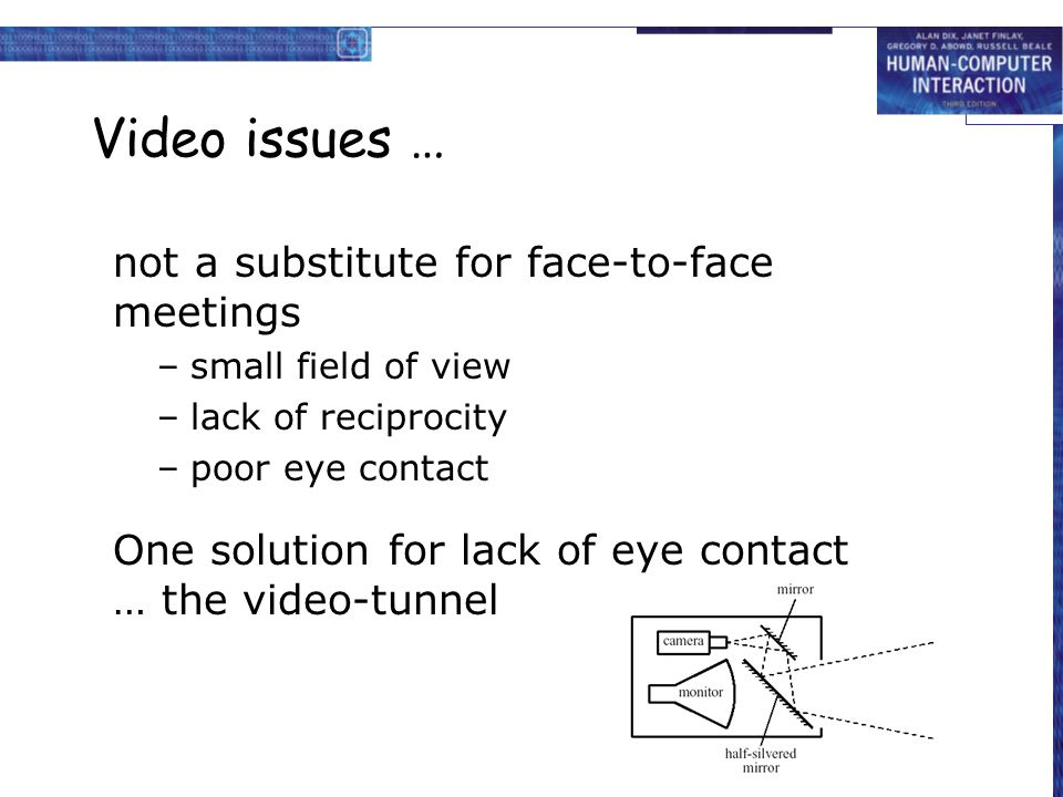 Video issues … not a substitute for face-to-face meetings