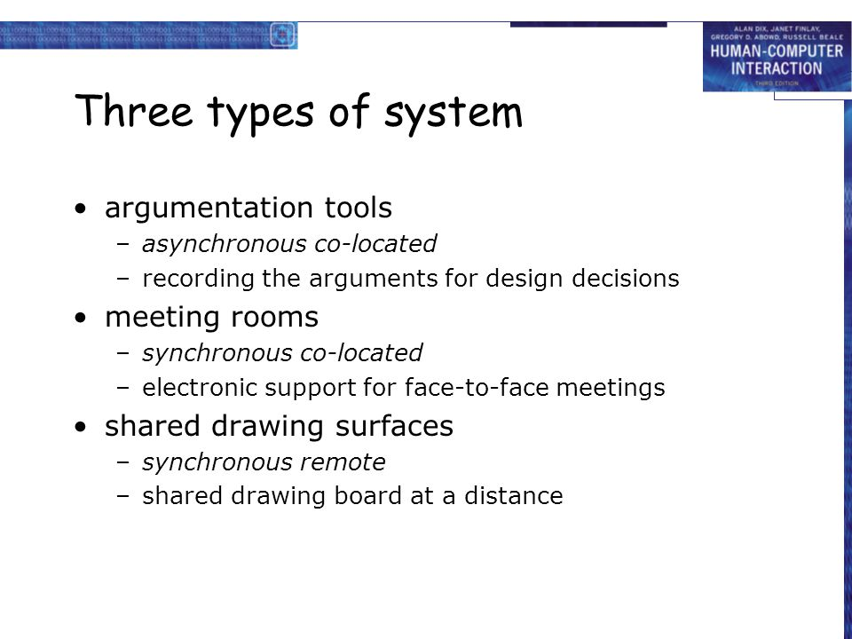 Three types of system argumentation tools meeting rooms