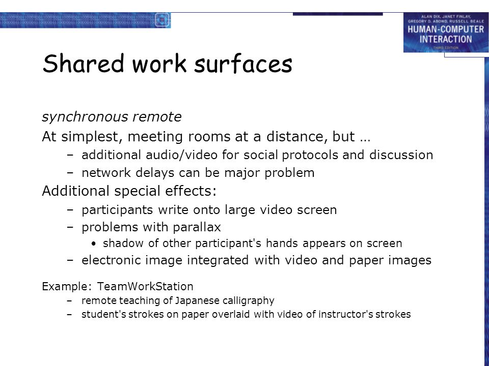 Shared work surfaces synchronous remote