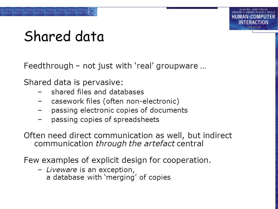 Shared data Feedthrough – not just with 'real' groupware …