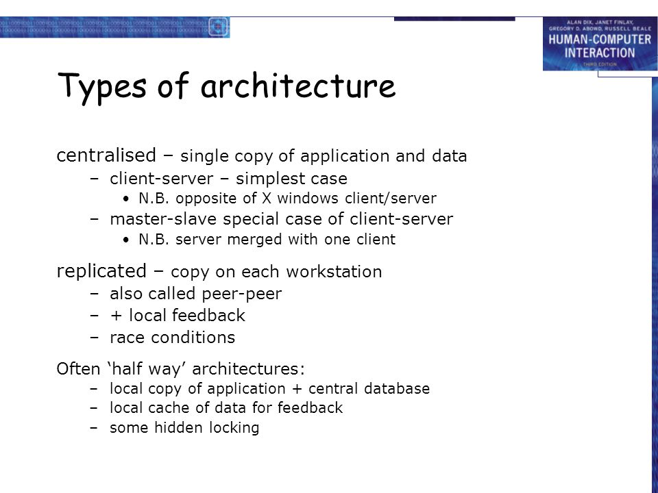 Types of architecture centralised – single copy of application and data. client-server – simplest case.