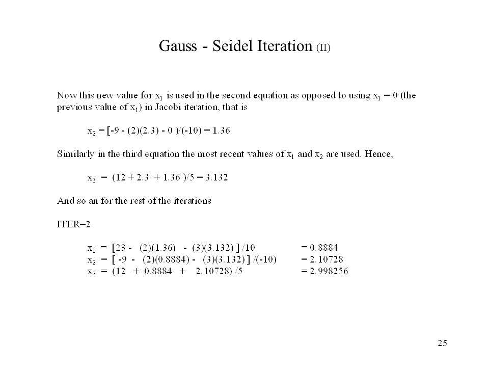 Gauss - Seidel Iteration (II)