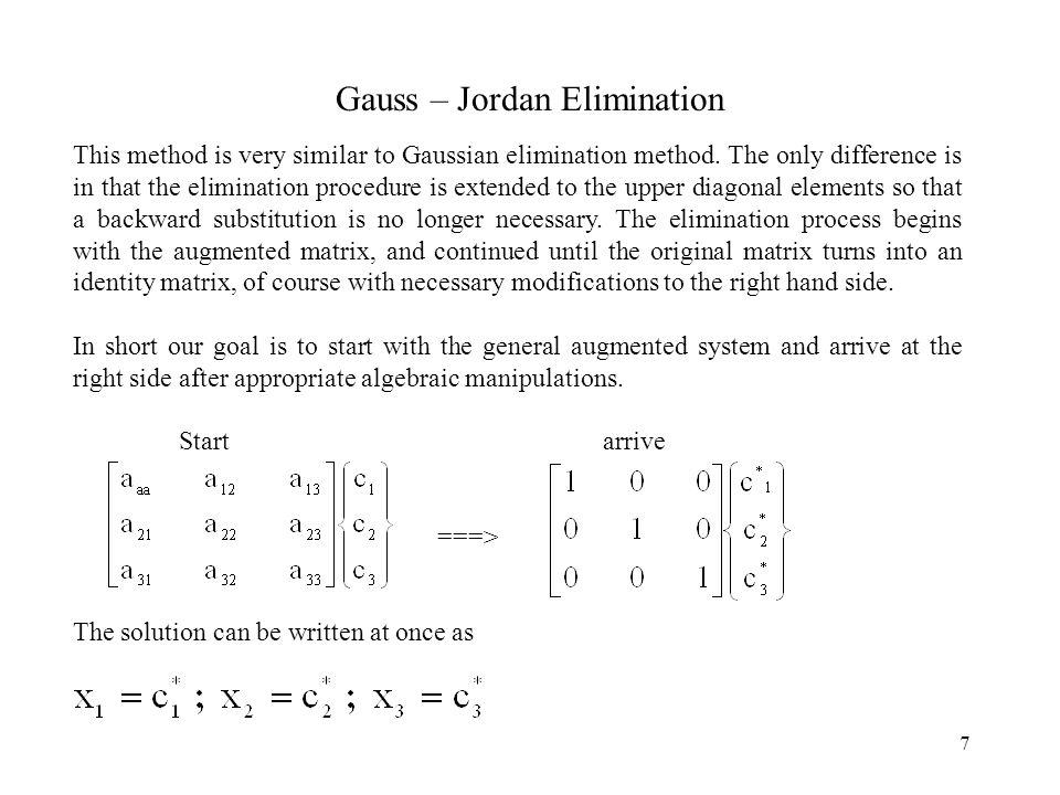 Gauss – Jordan Elimination