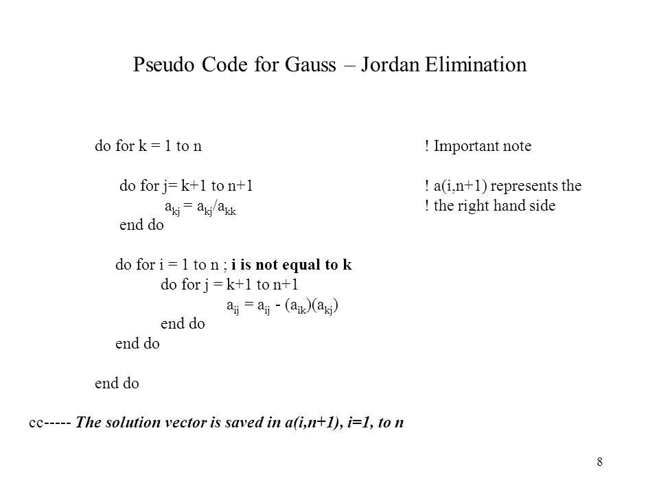 Pseudo Code for Gauss – Jordan Elimination