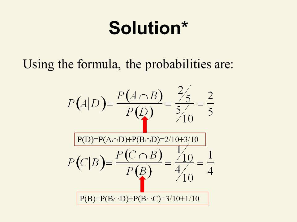 Solution* Using the formula, the probabilities are: