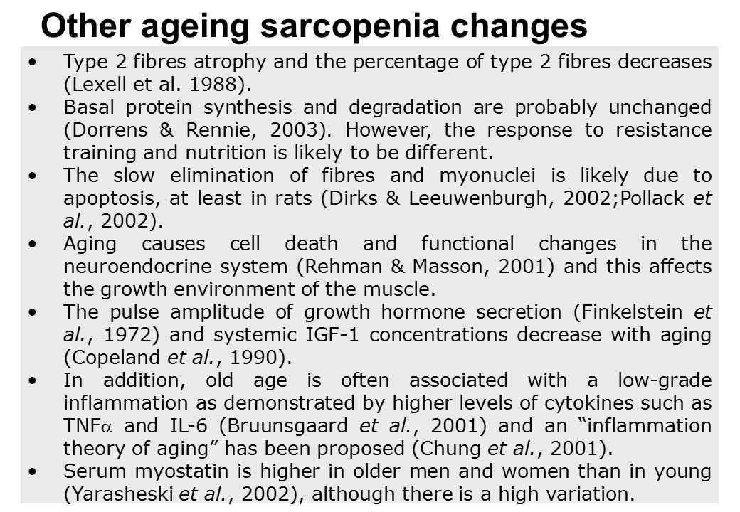 Other ageing sarcopenia changes