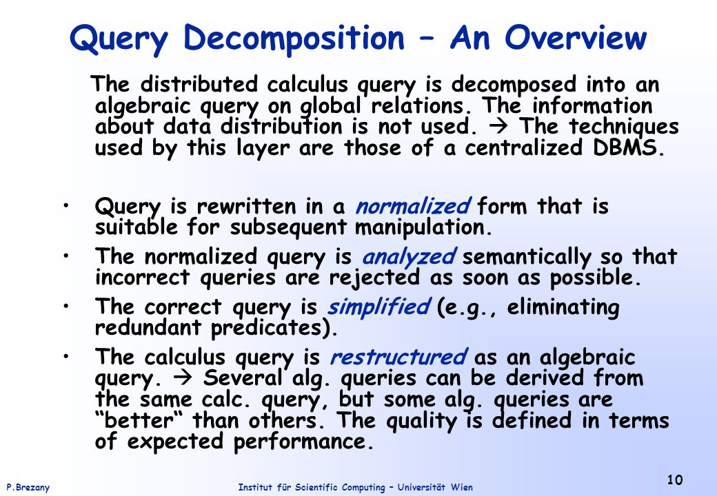 Query Decomposition – An Overview