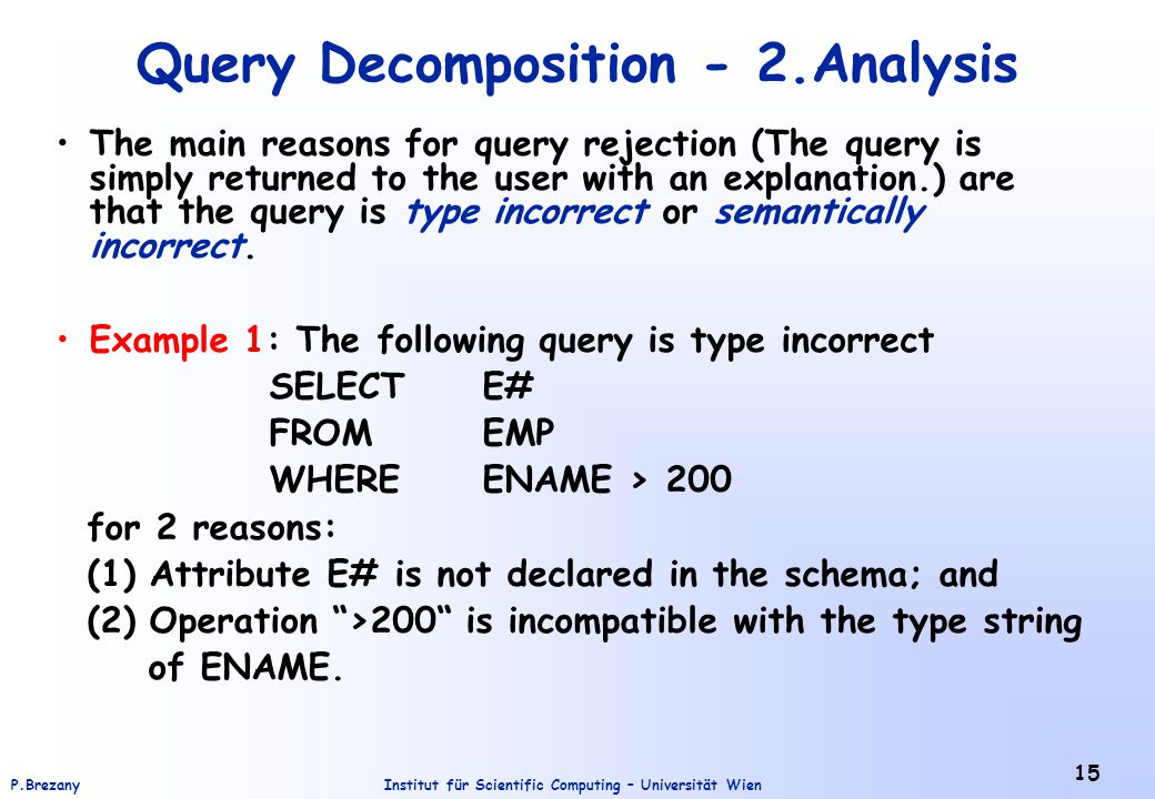 Query Decomposition - 2.Analysis