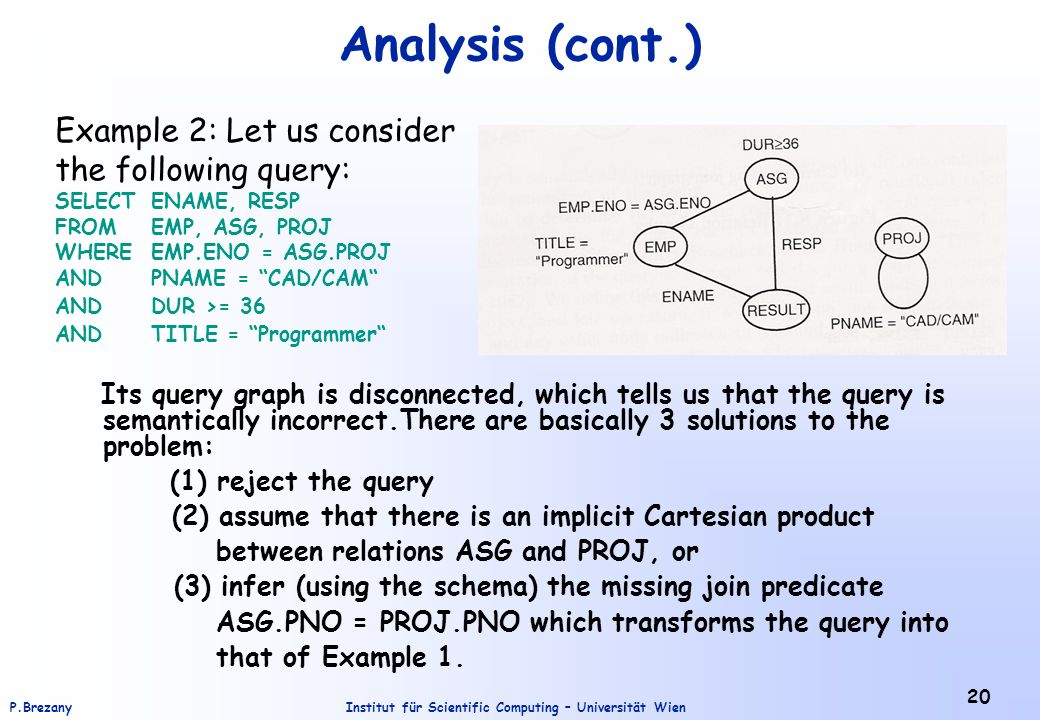 Analysis (cont.) Example 2: Let us consider the following query:
