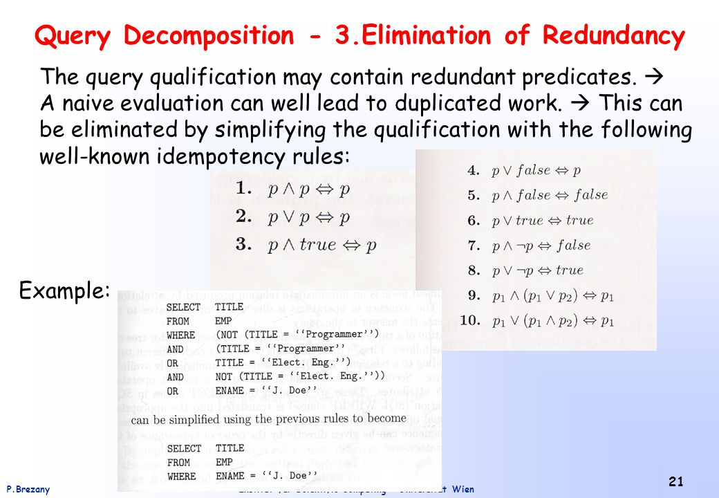 Query Decomposition - 3.Elimination of Redundancy