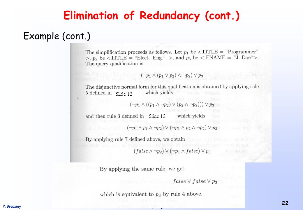 Elimination of Redundancy (cont.)