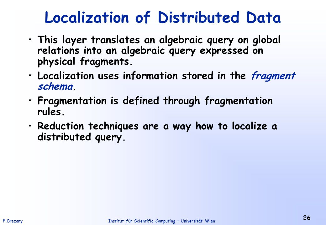 Localization of Distributed Data