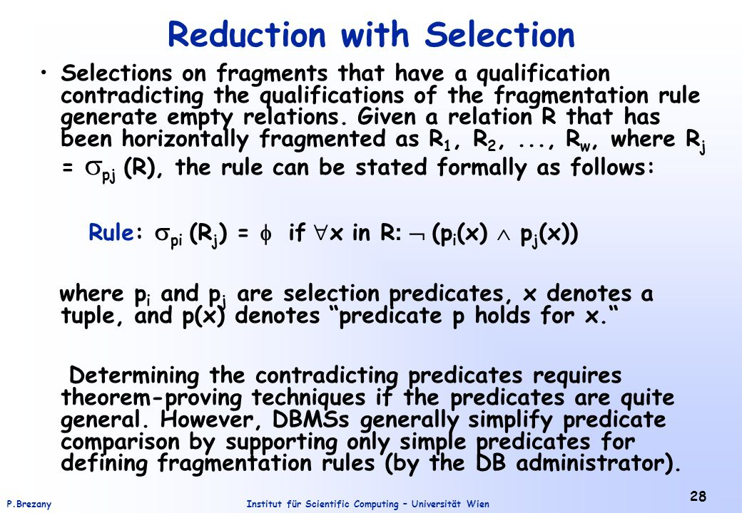 Reduction with Selection