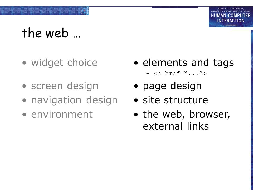 the web … widget choice screen design navigation design environment