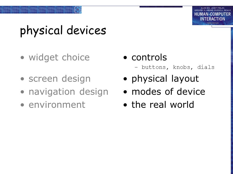 physical devices widget choice screen design navigation design