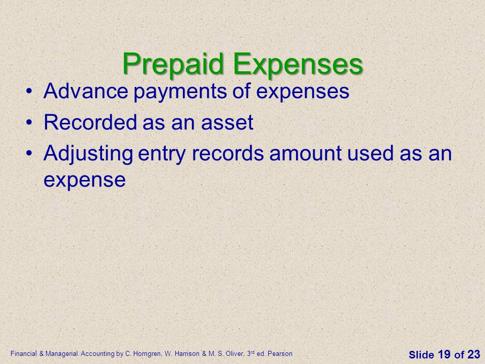 Prepaid Expenses Advance payments of expenses Recorded as an asset