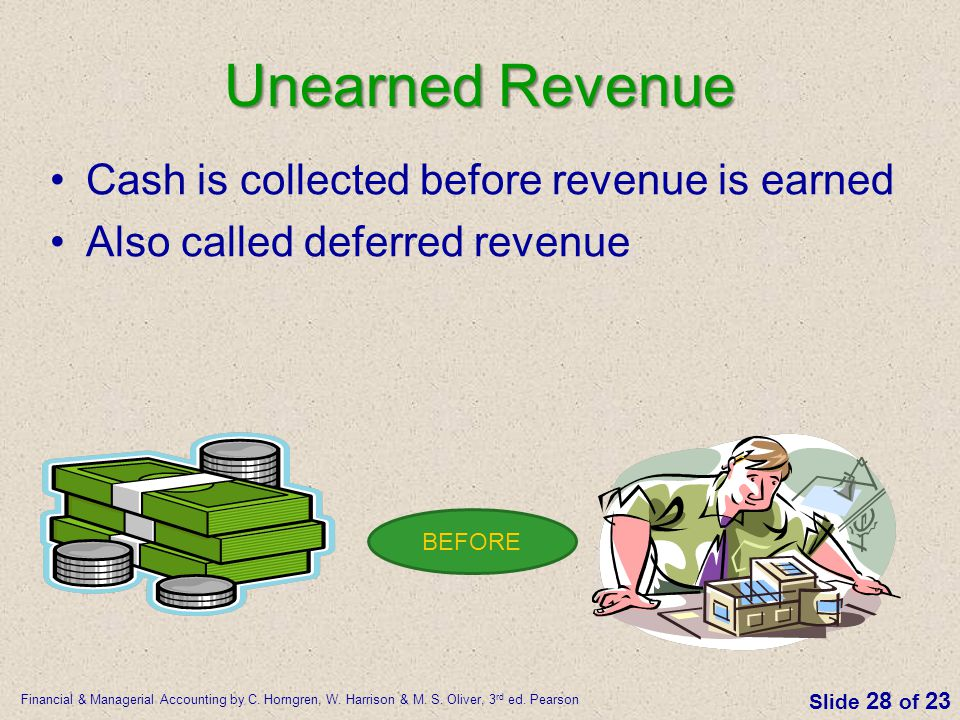 Unearned Revenue Cash is collected before revenue is earned