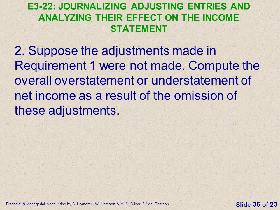 E3-22: JOURNALIZING ADJUSTING ENTRIES AND ANALYZING THEIR EFFECT ON THE INCOME STATEMENT
