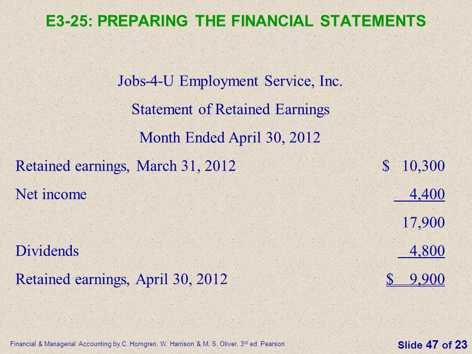 E3-25: PREPARING THE FINANCIAL STATEMENTS