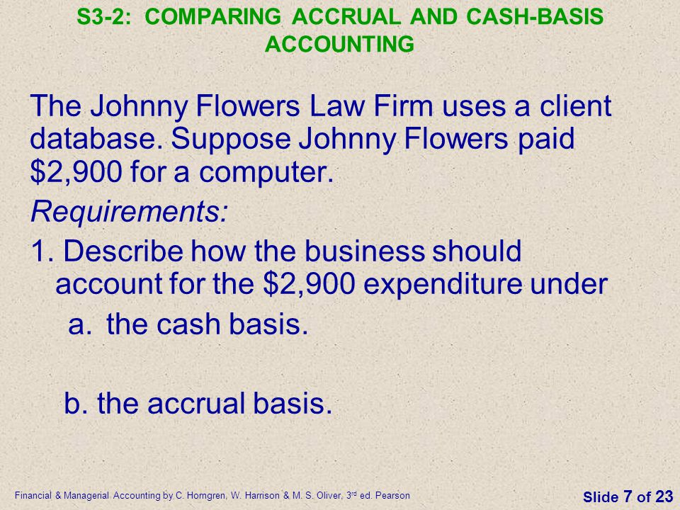 S3-2: COMPARING ACCRUAL AND CASH-BASIS ACCOUNTING