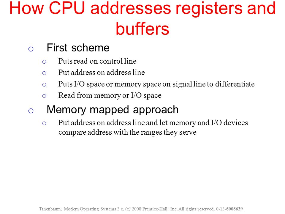 How CPU addresses registers and buffers